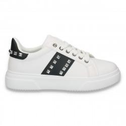 Sneakers dama casual, cu tinte, alb-negru - W80