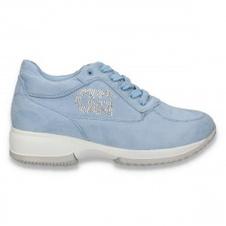 Sneakers dama, casual, imitatie velur, albastru deschis - W82