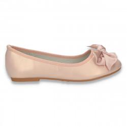 Balerini fete cu fundita din satin, roz pudrat cu irizatii - W84