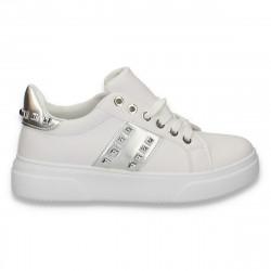 Sneakers dama casual, cu tinte, alb-argintiu - W86