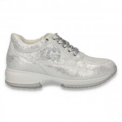 Sneakers dama, casual, imitatie velur, argintiu - W87