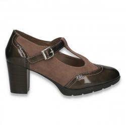 Pantofi clasici dama, cu elemente Oxford si bareta, maro - W90