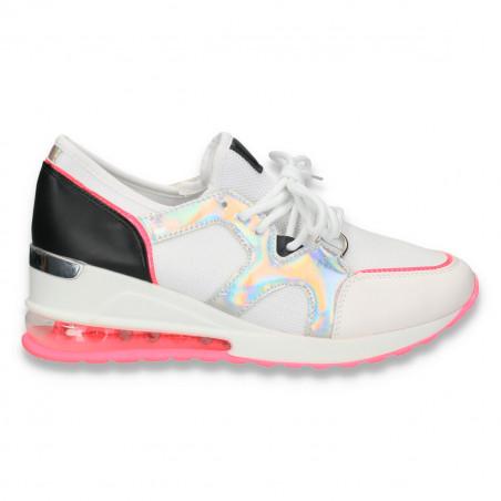 Pantofi sport femei, cu talpa inalta, alb-fucsia - W93