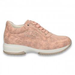 Sneakers dama, casual, imitatie velur, roz - W95