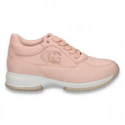 Sneakers dama, casual, imitatie velur, roz - W98