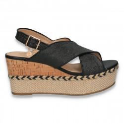 Sandale dama cu platforma, negre - W99