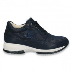 Sneakers dama, casual, imitatie velur, bleumarin - W100