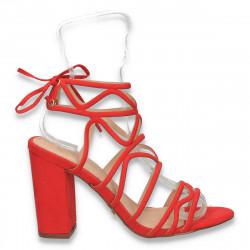 Sandale dama elegante, cu barete si toc gros, rosii - W101