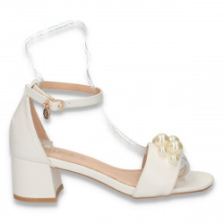 Sandale dama elegante, cu bareta si perle, albe - W103