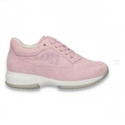 Sneakers dama, casual, imitatie velur, violet - W105