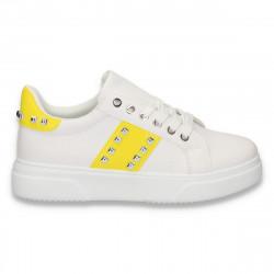 Sneakers dama casual, cu tinte, alb-galben - W111