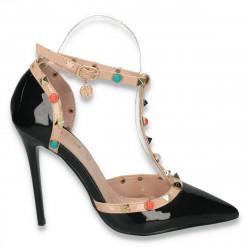 Pantofi glami dama, din lac, cu toc inalt, negri - W115