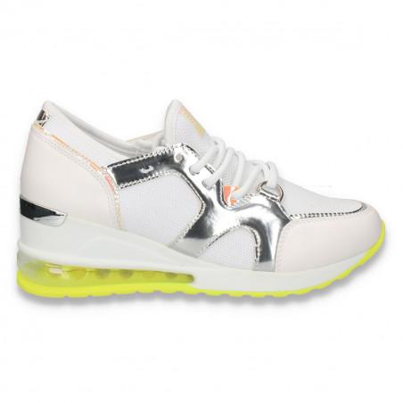 Pantofi sport femei, cu talpa inalta, alb-argintiu - W116