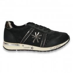 Sneakers fete fashion, cu dantela, negri - W117