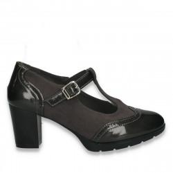 Pantofi clasici dama, cu elemente Oxford si bareta, gri - W119