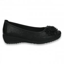 Pantofi dama, model clasic, cu decoratiune tip floare, negri - W120