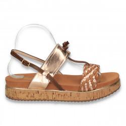 Sandale dama, cu platforma din pluta, bronz - W121
