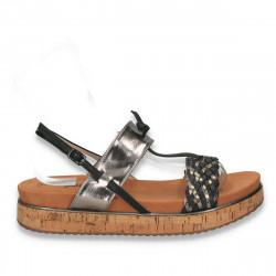 Sandale dama, cu platforma din pluta, gri-negru - W123