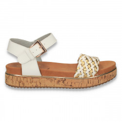 Sandale dama casual, cu platforma inalta din pluta, albe - W124