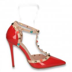 Pantofi glami dama, din lac, cu toc inalt, rosii - W125
