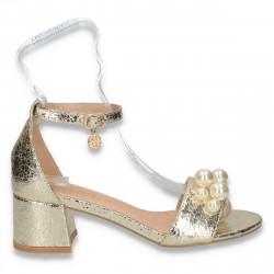 Sandale dama elegante, cu bareta si perle, aurii - W126