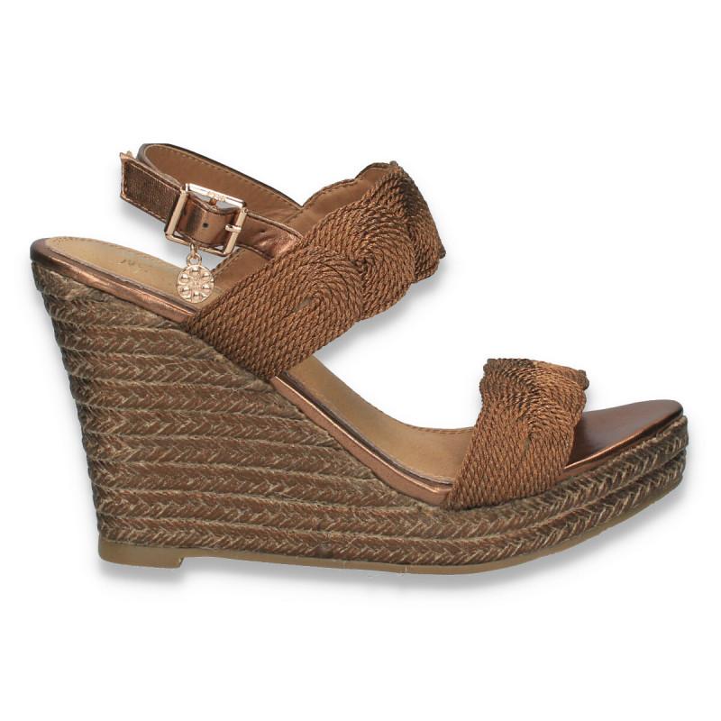 Sandale dama cu platforma, din material textil, bronz - W127