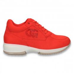 Sneakers dama, casual, imitatie velur, rosu - W128