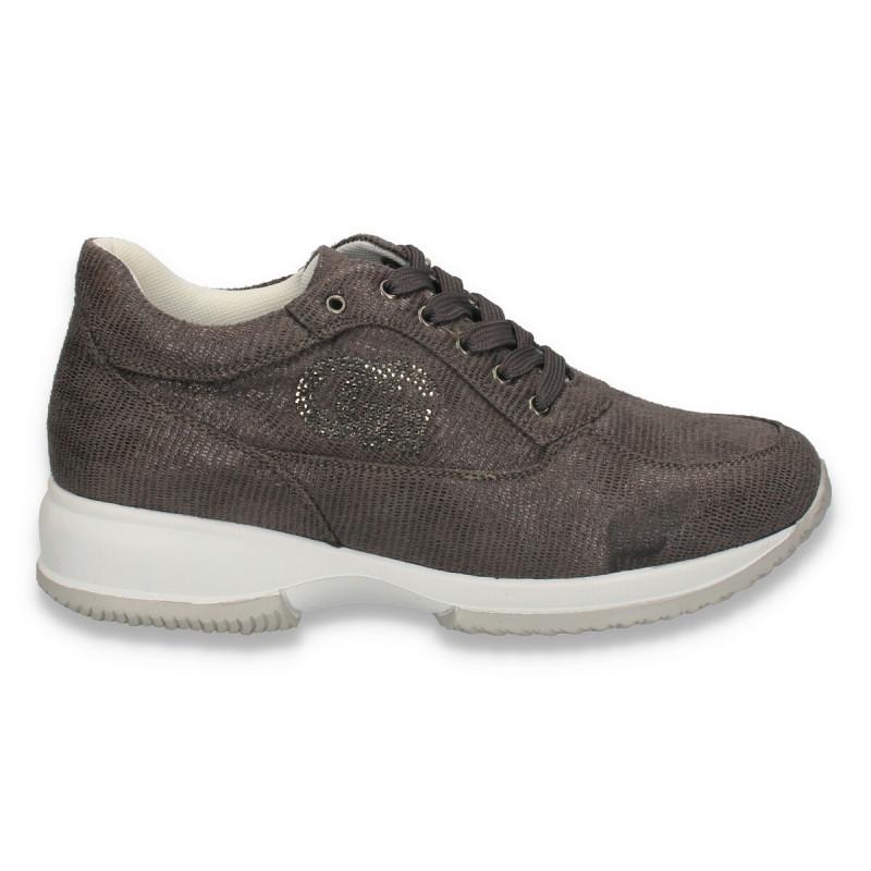 Sneakers dama, casual, imitatie velur, gri - W129
