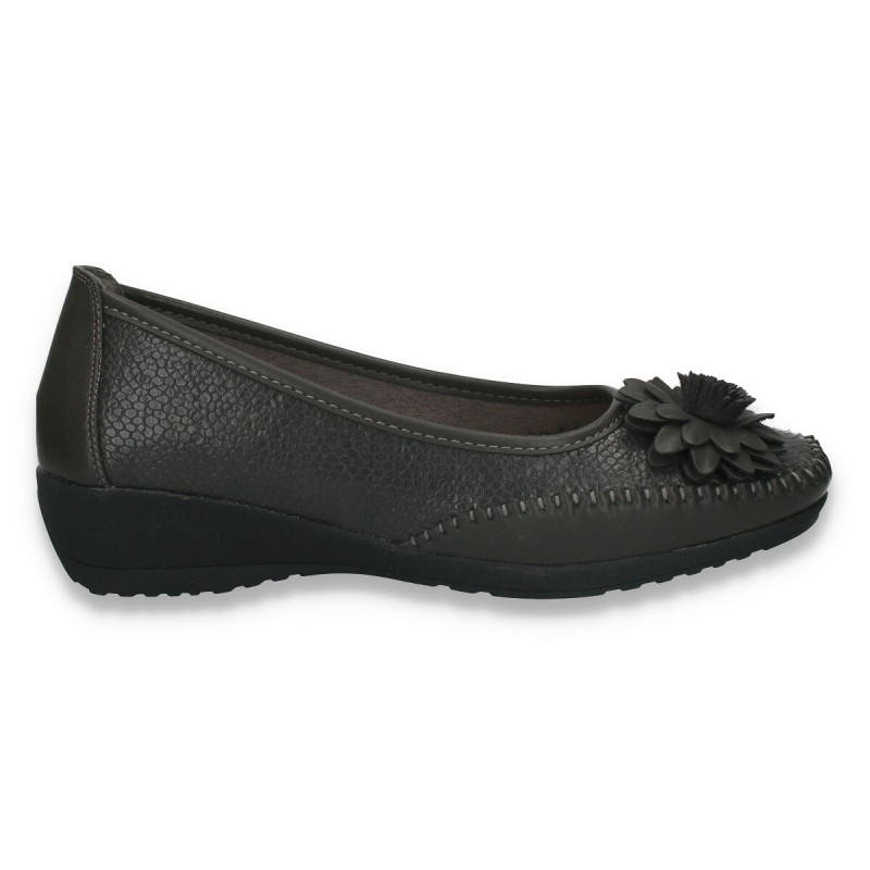 Pantofi dama, model clasic, cu decoratiune tip floare, gri - W130