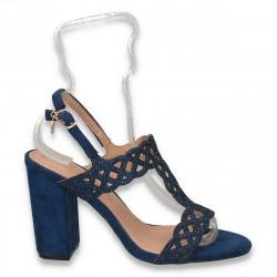 Sandale elegante dama, cu strasuri si toc gros, bleumarin - W133