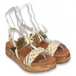 Sandale dama, cu platforma din pluta, alb-auriu - W134