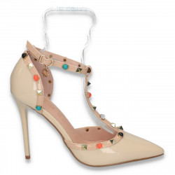 Pantofi glami dama, din lac, cu toc inalt, bej - W135