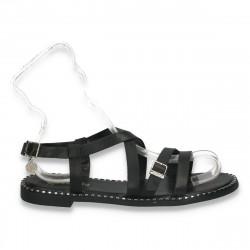 Sandale dama casual, in stil roman, cu talpa joasa, negre - W137