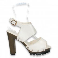 Sandale fashion, pentru dama, albe - LS406