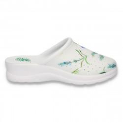 Saboti medicali, cu imprimeu floral si perforatii, albi - W142