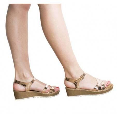 Sandale cu platforma, Mellisa de dama, culoare bronz