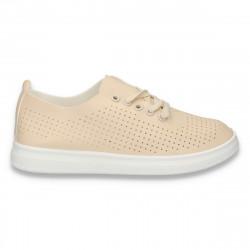 Pantofi casual dama, cu siret si perforatii, bej - W146