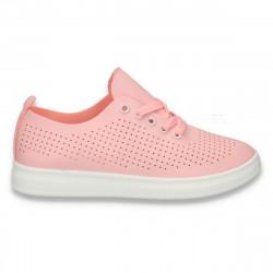 Pantofi casual dama, cu siret si perforatii, roz - W152