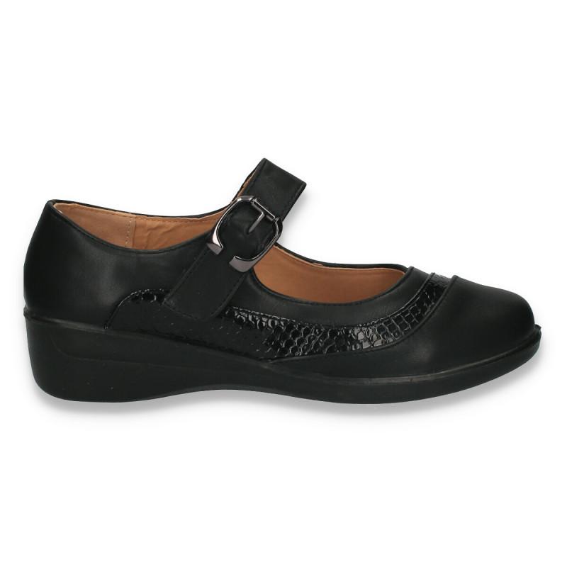 Pantofi dama, model clasic, cu bareta, negri - W153