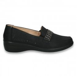 Pantofi dama, model clasic, cu perforatii si strasuri, negri - W154