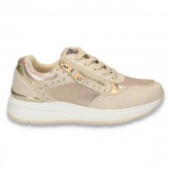 Sneakers moderni dama, bej-auriu - W156