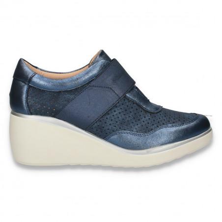 Pantofi casual dama, cu platforma si perforatii, bleumarin metalic - W158
