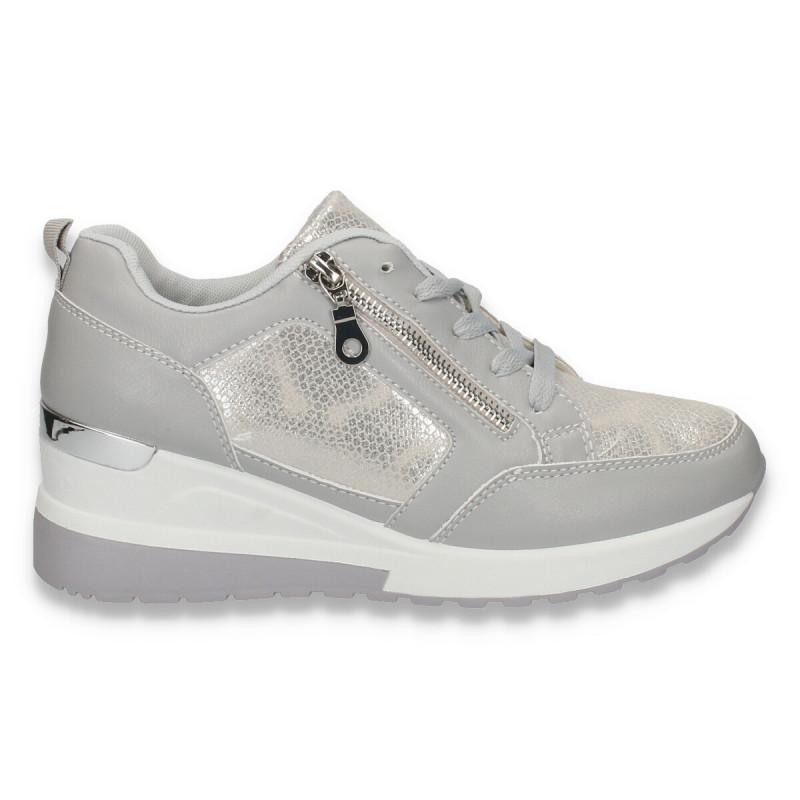 Sneakers moderni dama, cu platforma, gri - W159