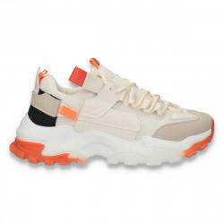 Sneakers trendy dama, cu talpa groasa, bej - W161