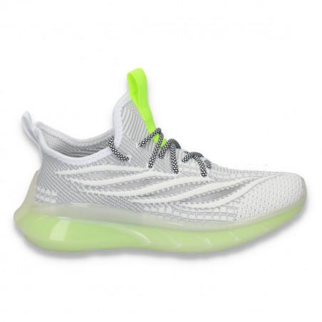 Pantofi sport pentru femei , din material textil, alb-gri - W162