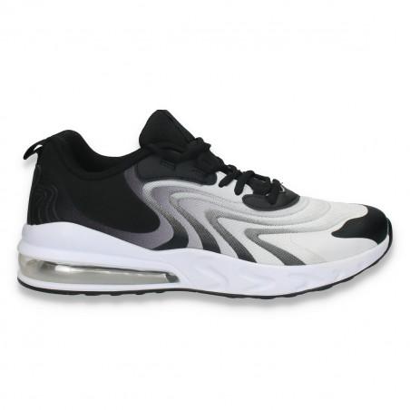 Pantofi sport pentru barbati, in degrade, negru-alb - W164