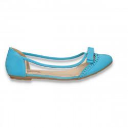 Balerini dama, piele eco si silicon, cu fundita, albastru deschis - LS409