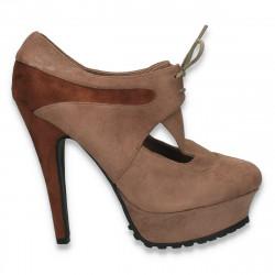 Pantofi femei cu siret, toc inalt si decupaje, taupe - LS414