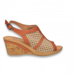 Sandale dama, din piele cu perforatii, bej-maro - LS415