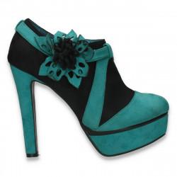 Pantofi dama inalti, tip gheata, cu decoratiune tip floare, negru-verde - LS416